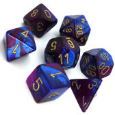 Blue & Purple Gemini Polyhedral 7 Dice Set